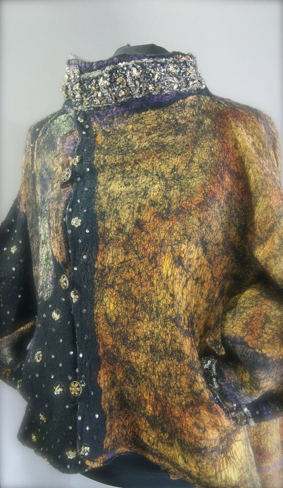 Nuno Felted Reversible Swing Jacket Size M a by sugarplumoriginals