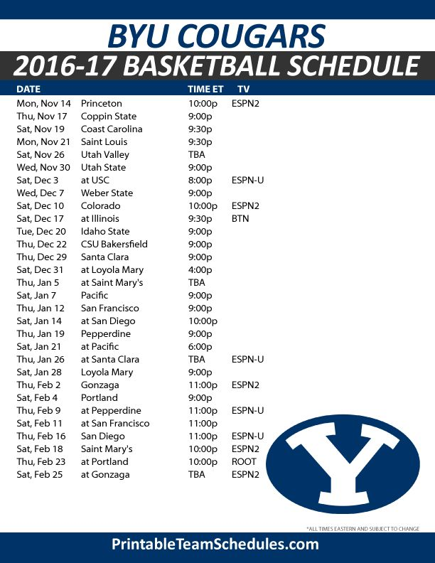 BYU Cougars Basketball Schedule 2016-17.  Print Here - http://printableteamschedules.com/NCAA/byucougarsbasketball.php