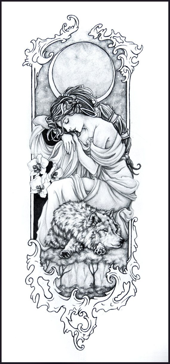 Moon Maiden  Original Graphite and Ink Drawing by lionsndyellocake, $100.00