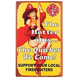 'Firefighters Vintage Rustic Metal Sign - Predrilled with Curvy Calendar Girl' Gift for Firefighters