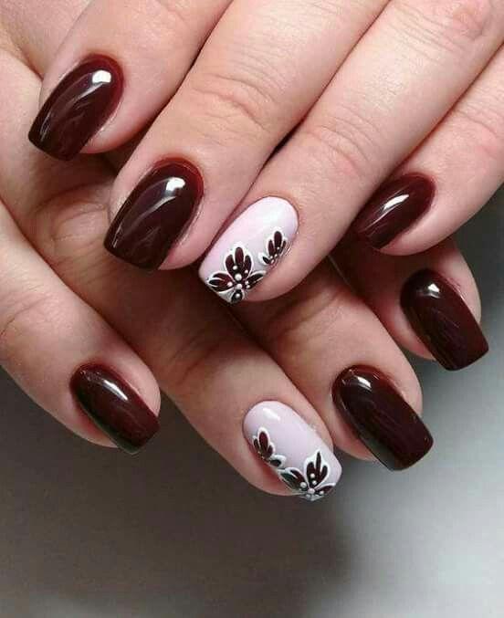Trend Herbst Nägel: Weinrot Farbe Kunst Designs Nägel