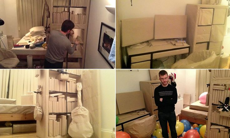 No wonder he's browned off! Pair cover flatmate's room in 150 metres of parcel paper over THREE DAYS