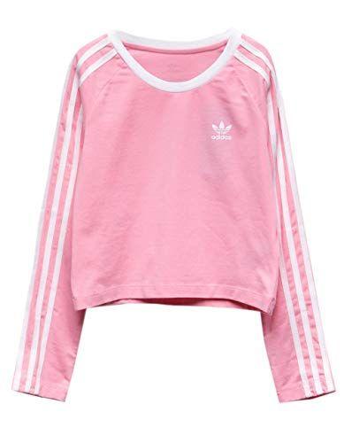433a15f51 adidas Originals Girls' Big 3-Stripes Crop Long Sleeve Te... https