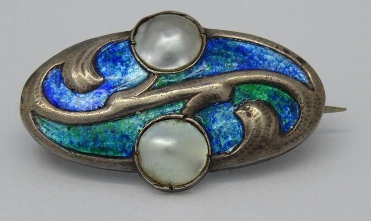 *Arts & Crafts Art Nouveau 950 Silver Enamel Pearl Brooch By Murrle Bennett*