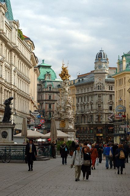 Graben Street, Vienna, Austria. The Graben is one of the most famous streets in Vienna's first district, the city centre. It begins at Stock-im-Eisen-Platz next to the Palais Equitable and ends at the junction of Kohlmarkt and Tuchlauben. (V)
