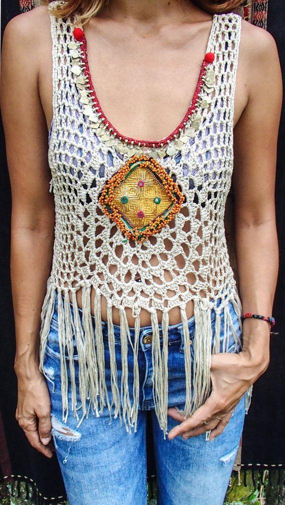 Handmade Crochet Fringe top with Vintage Jewelry/Boho by SpellMaya