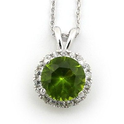 14k White Gold August Birthstone Simulated Peridot CZ Large Round Halo Pendant Necklace - pendant only