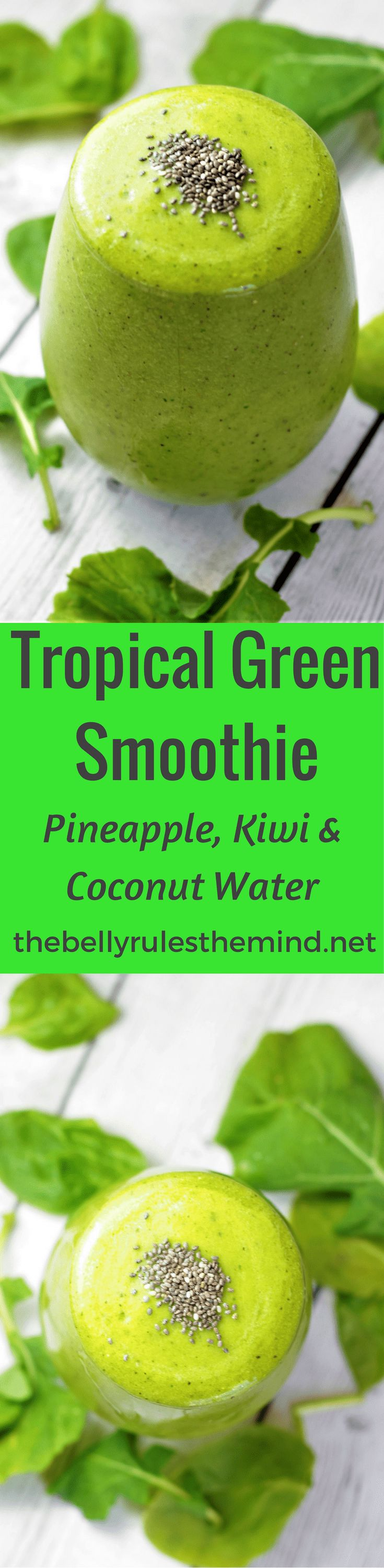 This Tropical Green Smoothie is sure to tantalize your taste buds. Nourish your body with the goodness of greens & tropical flavors like pineapple, kiwi, banana, coconut water. Vegan + Gluten Free|www.thebellyrulesthemind.net @bellyrulesdmind
