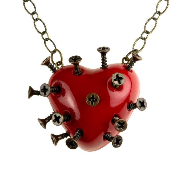 Red Steampunk Broken Heart Necklace With Screws (goth, jewellery, punk, emo, alternative, industrial, indie, Rockabilly, Lolita, Cyber). $34.99, via Etsy.