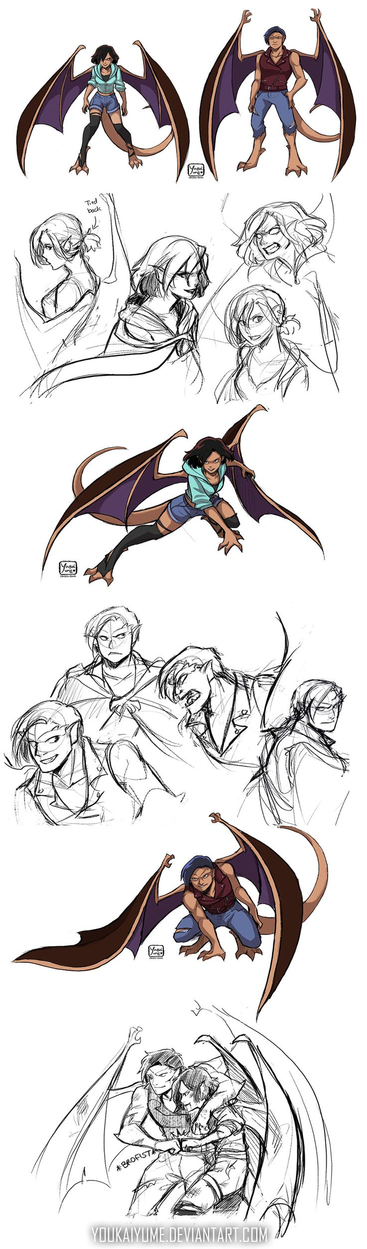 Gargoyles Fanbabies: Kitty and Mags by YoukaiYume on DeviantArt  <---Fan creation: Elisa and Goliath's babies! Flailing over the awesome!!!