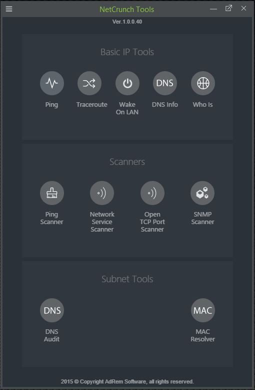 NetCrunch Tools is a completely free toolkit for network professionals, featuring #Ping, #Traceroute, #WakeOnLAN, #DNS Info, #WhoIs, #Ping Scanner, Service Scanner, Open #TCP Port Scanner, #SNMP Scanner, #DNS Audit and #MAC Resolver in one: www.adremsoft.com/netcrunch.tools/ #SysAdmin #DevOps #Freeware #Shareware #IT #Tech #Technology