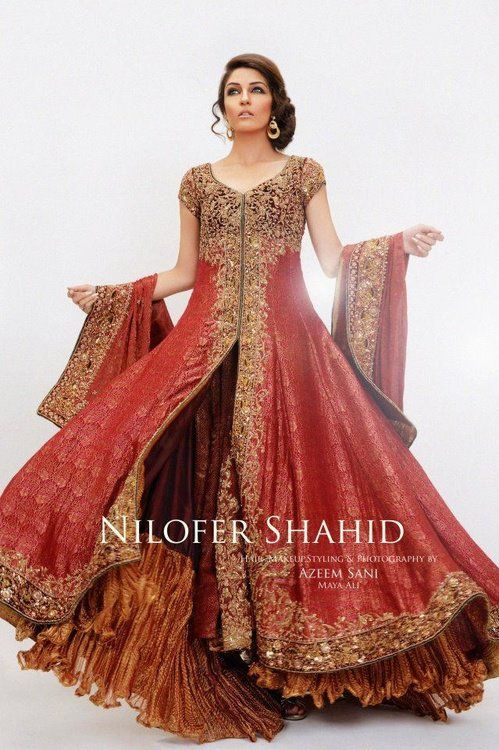 red pakistani dress (which can look like an Indian dress to Americans)