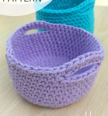Simple crochet mini basket pattern / Egyszerű horgolt füles kis kosár - horgolásmintával / Mindy