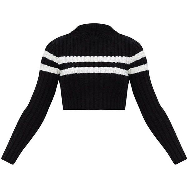 Black Stripe Detail Cropped Knitted Jumper ($11) ❤ liked on