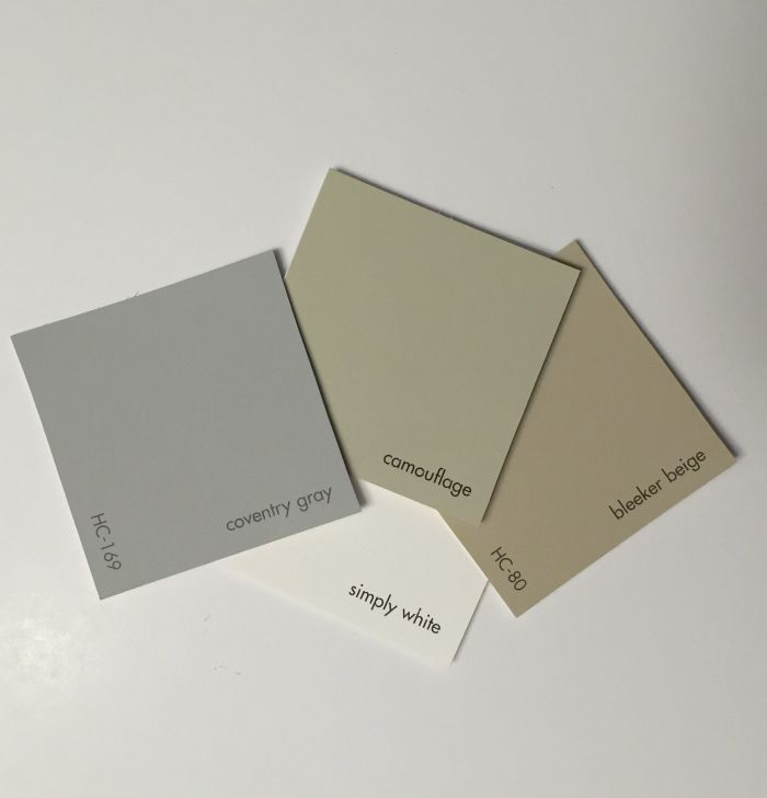 HC-169 Coventry gray paired with HC-80 Bleeker Beige,  OC-117 Simply White and 2143-40 Camoflage