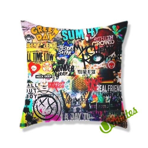 5 seconds of summer all time low my chemical romance fall out boy blink 182 nirvana green day Square Pillow Cover