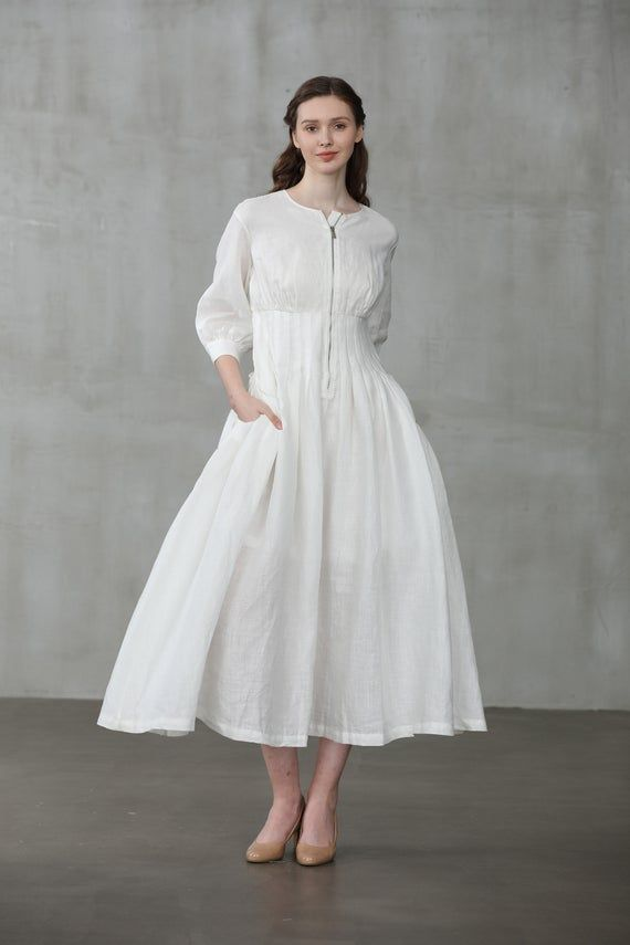 Linen Dress White Linen Dress Coat Dress Linen Jacket Kate Etsy White Linen Dresses White Dress Linen Dress