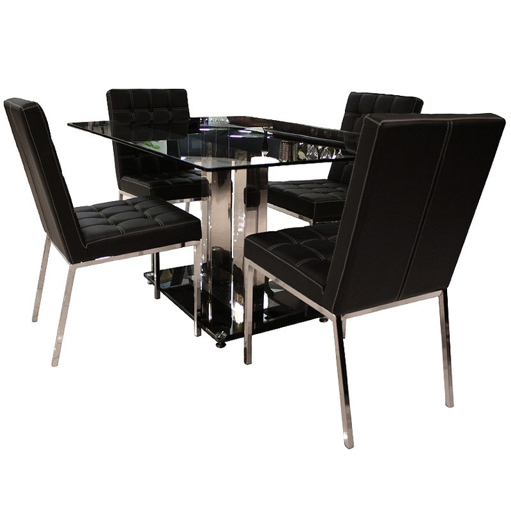 COASTER PRADA DINING TABLE & 4 CHAIRS - DINING ROOM, DINING TABLE SET, DINING SET Gallery Furniture