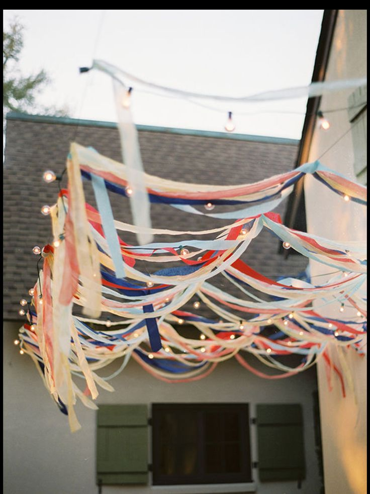 fun party setting using multi coloured streamers!