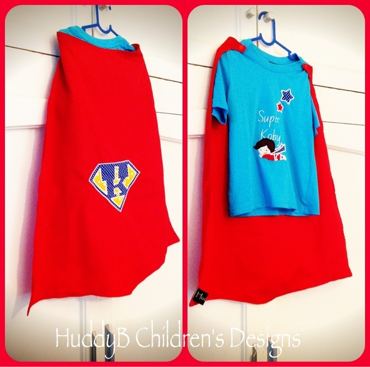 Superhero cape - embroidered design on cape with matching Superhero T-shirt.