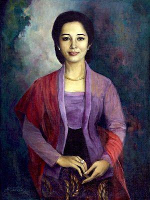 """Lady with Kebaya"" by Basuki Abdullah, Size: 113cm x 76cm, Medium: Oil on canvas"