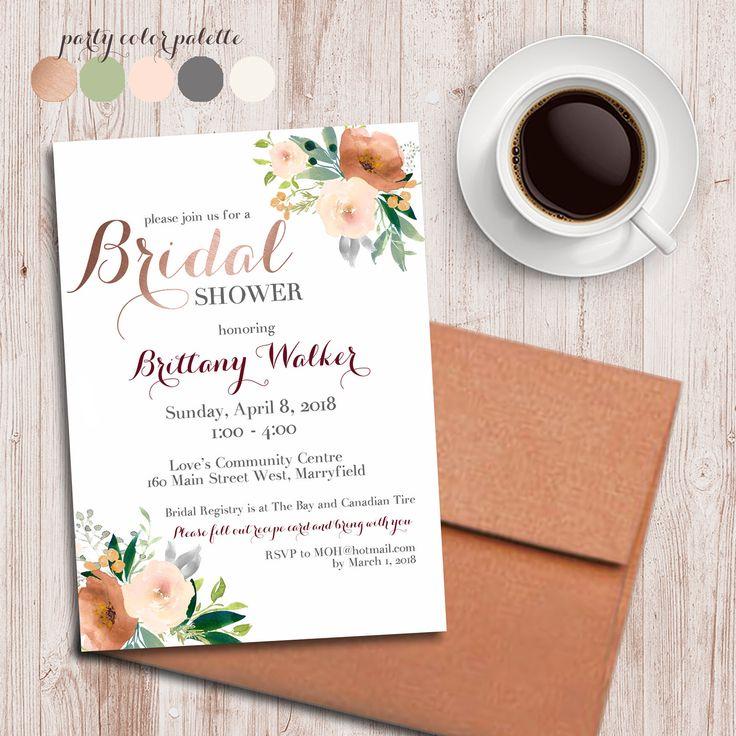 Floral bridal shower invitation, floral wedding shower invitation, Copper shower invitation, rose gold invitation, Recipe shower, invite by AweDesignsShop on Etsy https://www.etsy.com/ca/listing/592645125/floral-bridal-shower-invitation-floral