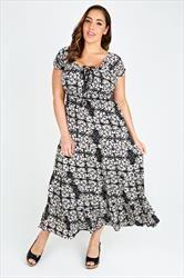 Black & Cream Batik Print Gypsy Maxi Dress