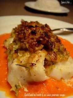 Épices & moi - Cabillaud en croûte & sa sauce aux poivrons rouges