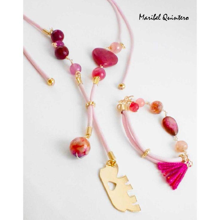 Necklace and Bracelet, HandMade, agata Gems