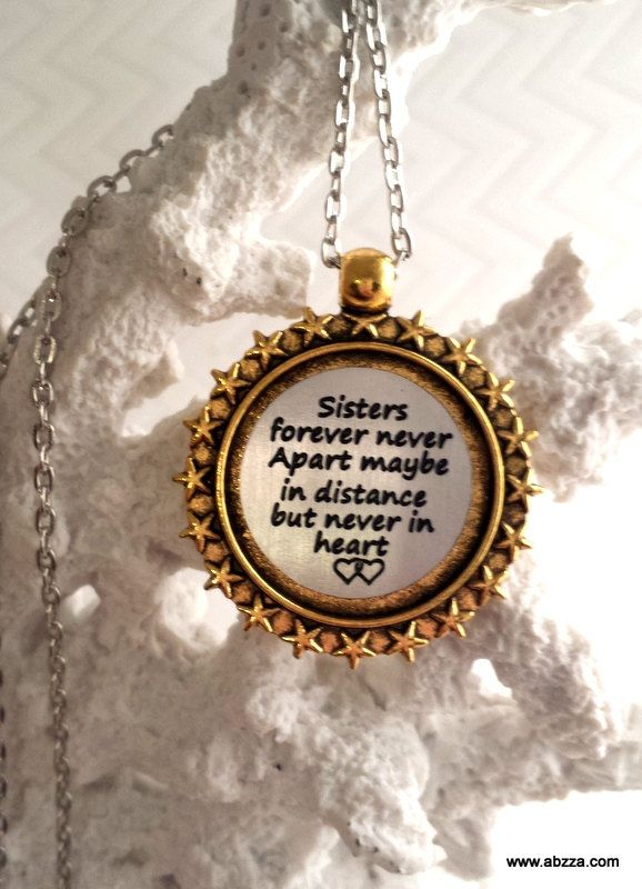 Sister Love - Two tone Engraved Necklace by abzzadesigns on Etsy