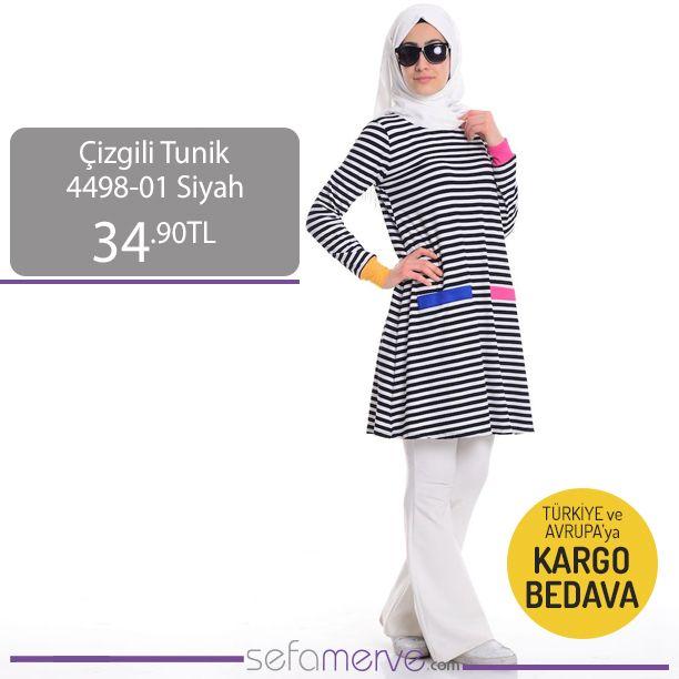 Çizgili Tunik 4498-01 Siyah  Türkiye ve 1. Bölge Avrupa Ülkelerine Kargo BEDAVA!! #sefamerve #tesetturgiyim #tesettur #hijab #tesettür #tunik
