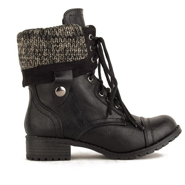 Combat Boots | Soda ANDIE Sweater Fold Down Combat Boot | J.SERENE (100 BRL) ❤ liked on Polyvore featuring shoes, boots, ankle booties, botas, round toe boots, lace up boots, laced booties, lace up combat boots and fold-over combat boots