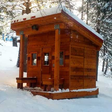 Need One, big enough to fit a group of 6-ish: Outdoor Sauna Kit + Post & Beam Porch + Heater + Accessories
