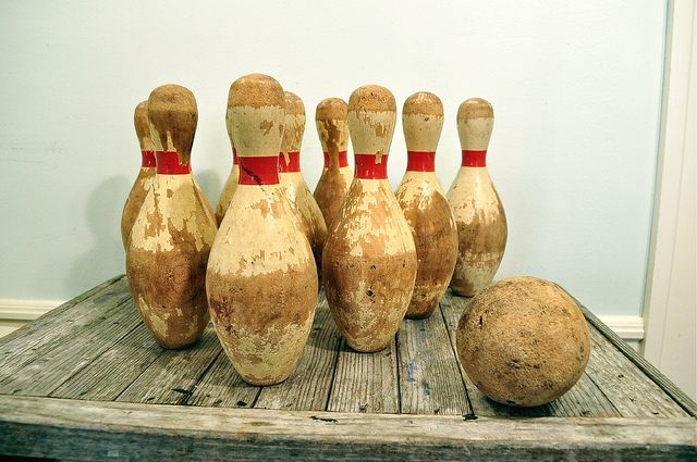 Vintage Wooden Bowling Pins and Ball @ robyn martin....Yae!! Thanks Sherry!  Love em!