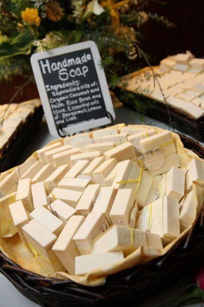 Handmade soap as vintage wedding favors - so cute