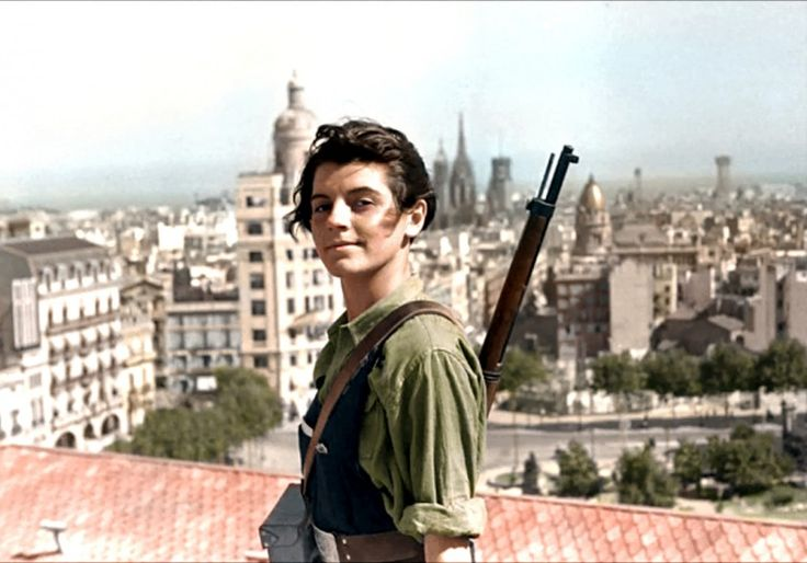 "Marina Ginesta, 17-year-old militant, Barcelona during the Spanish Civil War, 1936. LOVE her expression. I wonder what her life became after this—a teenage guerilla fighter against fascism? I bet she continued to be kickass. I really think this is an example of ""a photo says more than a thousand words"". (Who is behind that quote? Bcs it could not be more true (the naked Vietnam girl running from napalm—what hits you in the gut than that pic from the Vietnam war?"