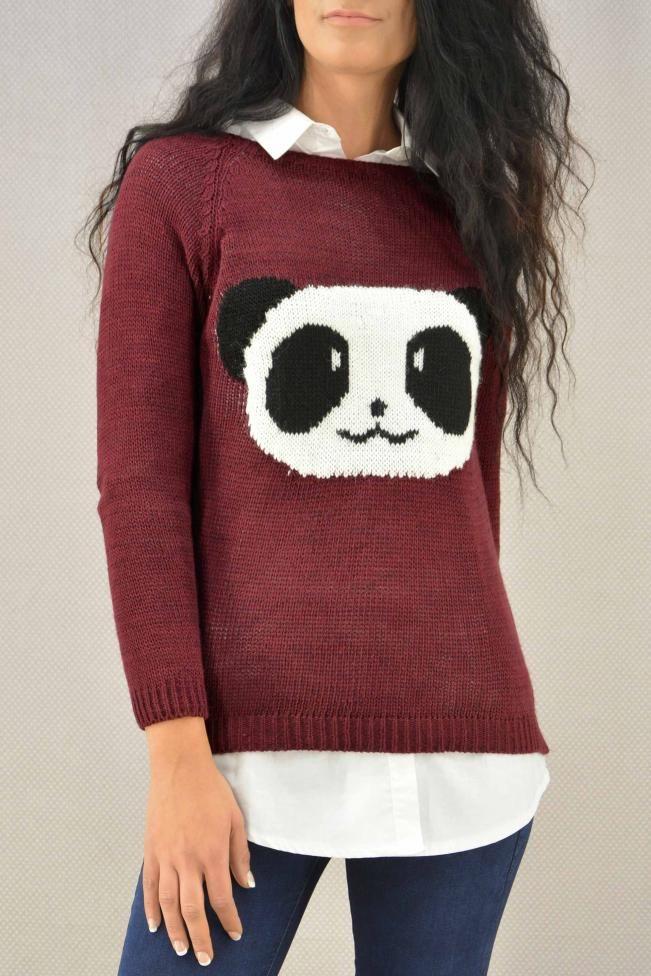 Γυναικείο πουλόβερ σχέδιο πάντα  PLEK-2731-bu Πλεκτά - Πλεκτά και ζακέτες