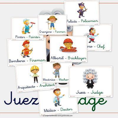 Fichas para trabajar las profesiones en Castellano e inglés http://www.educapeques.com/recursos-para-el-aula/las-profesiones-primera-parte.html