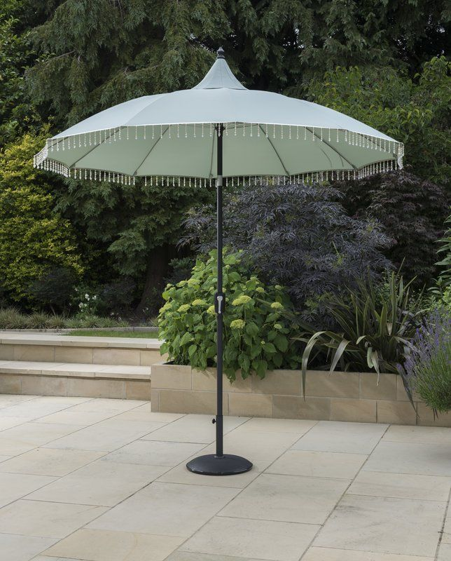 0a9dc98d2 The beautiful Ottmar 2.7m Market Parasol with pretty beaded drops will give  your garden that bit of glam. An attractive and functional addition to any  ...