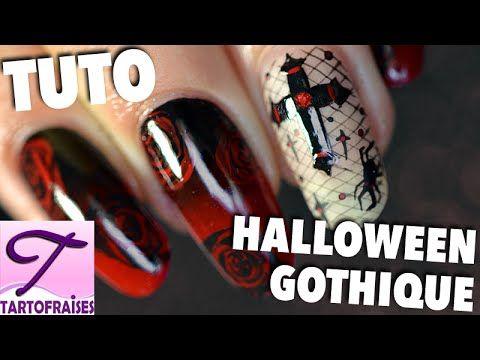[Halloween Chic] Tuto nail art Gothique Romantique - YouTube