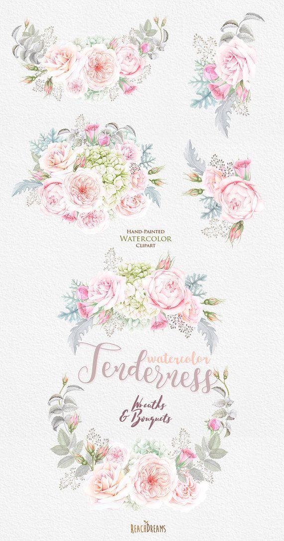Blumen Aquarell Kranz & Sträuße Rosen Hortensien böhmische