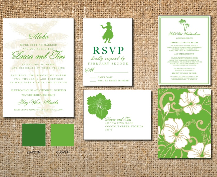 Beach Resort Wedding Invitation Hawaii Destination Pinele Luau Hibiscus Flower Announcement