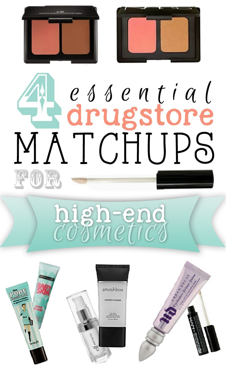 Essential drugstore matchups for high-end cosmetics. These beauty products are necessities that every girl should have in her makeup bag! Get the high-end look without breaking the bank! A must read pin. #dupes #makeup #cosmetics