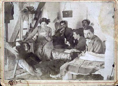Kazantzakis, Galatea, Elli Alexiou, K. Varnalis and M. Avgeris in the village of Krasi, Heraklion in 1912 (Stylianos Alexiou Collection)  Kazantzakis marriage to Galatea was shortlived [1911-1916]