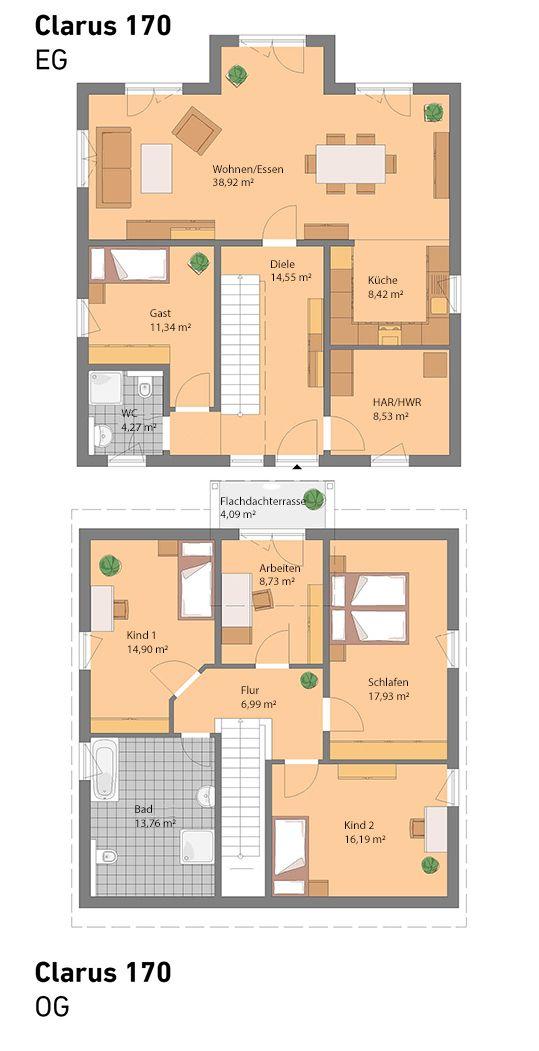 Unser Clarus hat 170 m2 und wird in Massivbauweise…