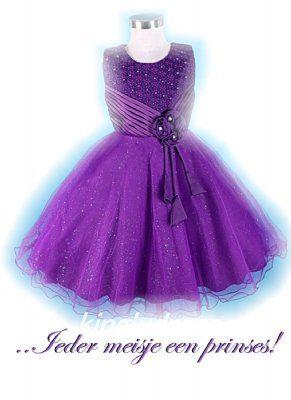 Paarse prinsessenjurk met glinsterende tule rok mt