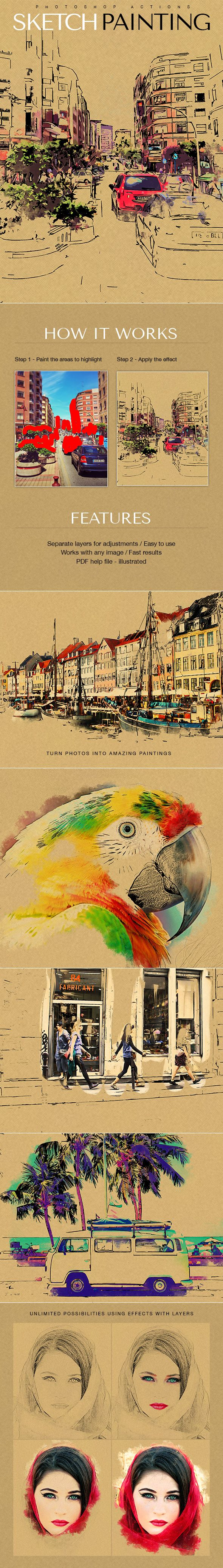 Sketch Painting Photoshop Action. Download here: https://graphicriver.net/item/sketch-painting/17462872?ref=ksioks