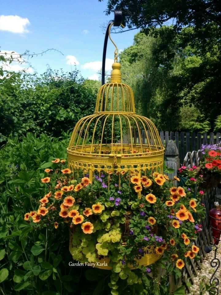 153 best images about bird cages in the garden on for Cage a oiseau decorative