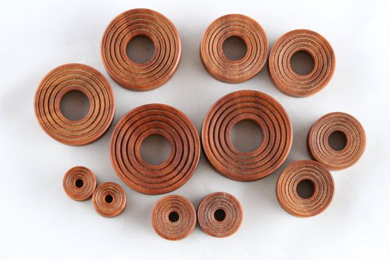 Hand Carved Wood Tunnel Plugs for Stretched Ears Ear Tunnels