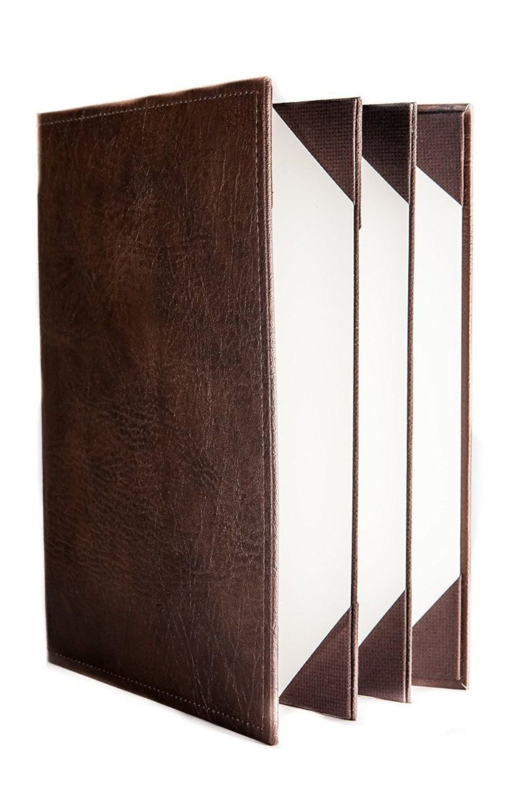 """Menu Covers Made In Italian Faux Leather (10-Pack) - 8.5"""" X 11"""" - 6 Views Brown"""